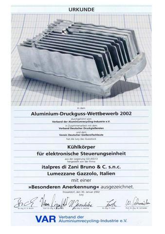"""Premio """"V.A.R. Verband Der Aluminiumrecycling-Industrie e.V."""" edizione 2002"""